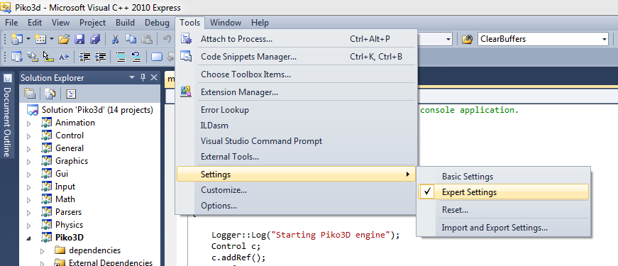 Expert setting visual studio